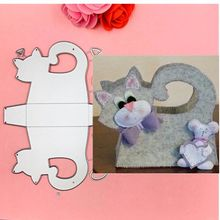 3D cat Frame gate box Metal Cutting Dies Stencils for DIY Scrapbooking Stamp/photo album Decorative Embossing DIY Paper Cards