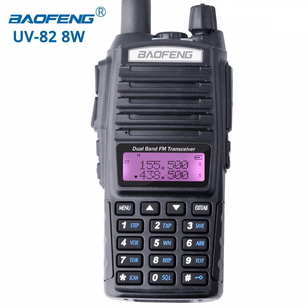Baofeng UV-82 8 W talkie walkie portable radio double bande émetteur-récepteur Haute Moyenne Basse Puissance UV82 Jambon Radio Station amateur Portable