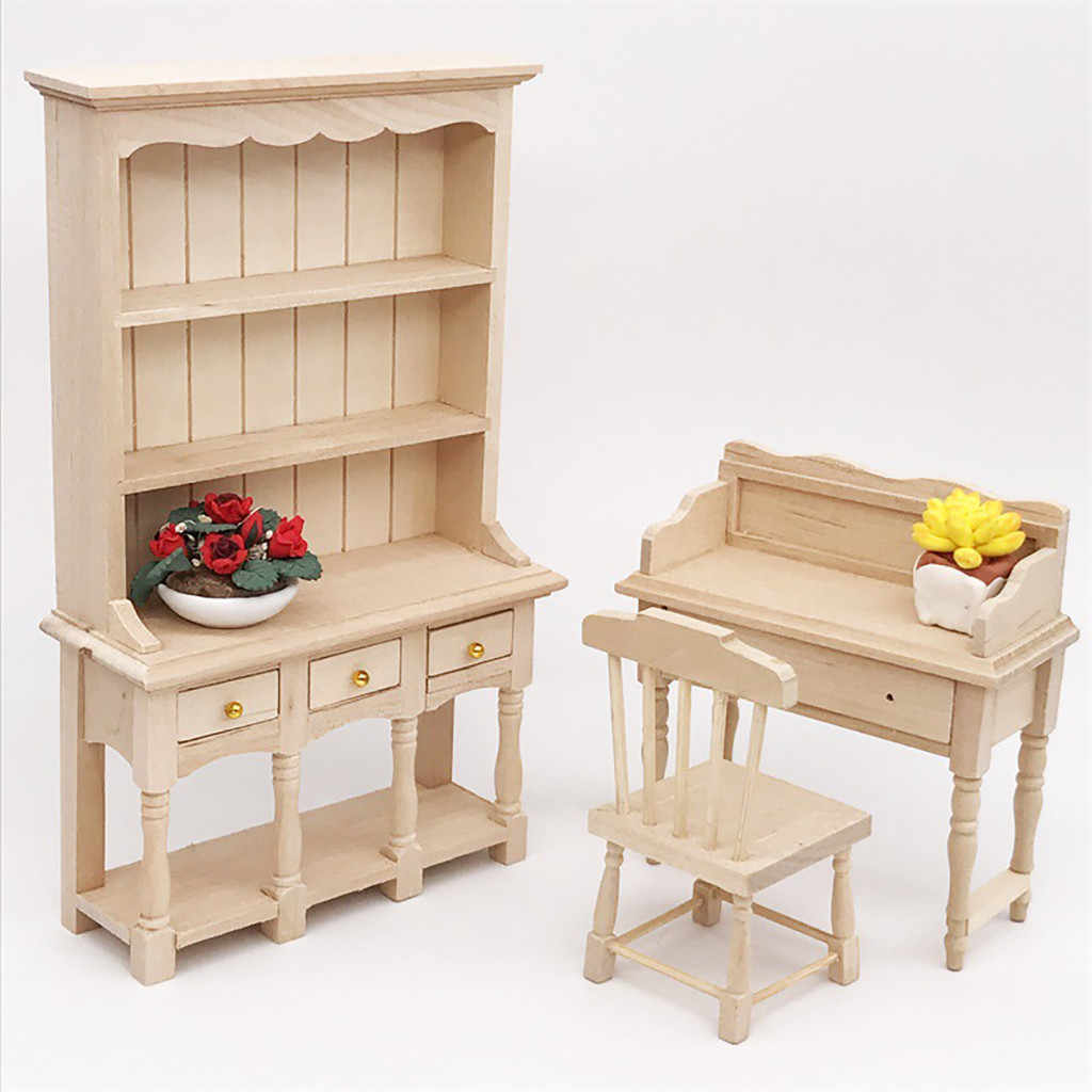 1/12 Mini Dollhouse Bookcase Wooden Furniture Cabinet Miniature Living Room Kids Toy Doll House Accessories Simulation Toy T9#