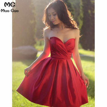 2018 A-Line Homecoming dress Short with Pleat Sweetheart Lace Up Back Satin cocktail Party Dress short homecoming dress фото
