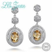 L& zuan белое золото натуральный цитрин длинные серьги для женщин 5.14ct желтый драгоценный камень серьги 925 Висячие серьги из серебра 925 пробы