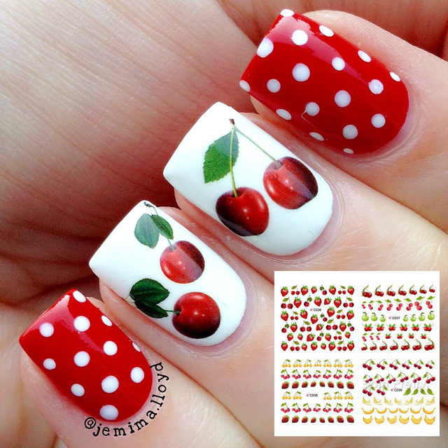 1 Sheet Fruit Strawberry Cherry Nail Art Water Decals Color Painting  Transfer Sticker C036-039 - 1 Sheet Fruit Strawberry Cherry Nail Art Water Decals Color Painting