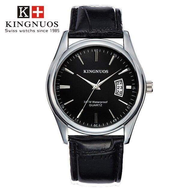 aa1904341e9 KINGNUOS Pulseira de Couro Relógios de Marca de Luxo Da Moda Relógio de Quartzo  Homens Impermeáveis