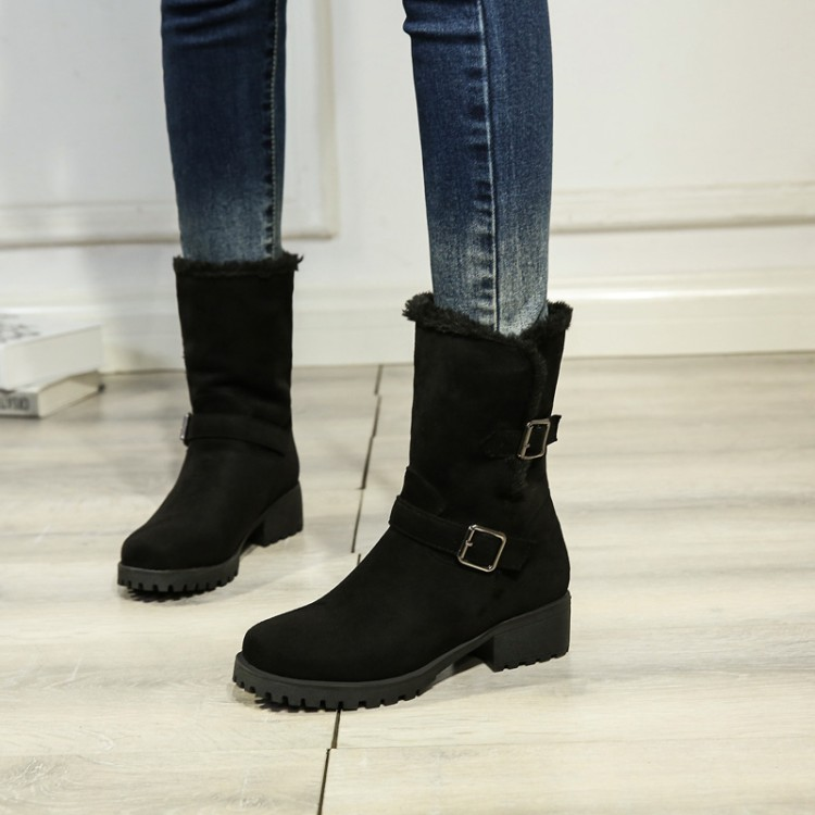 Big Size9 10  11-13 boots women shoes ankle boots for women ladies boots The collar of the belt buckle is ruffledBig Size9 10  11-13 boots women shoes ankle boots for women ladies boots The collar of the belt buckle is ruffled