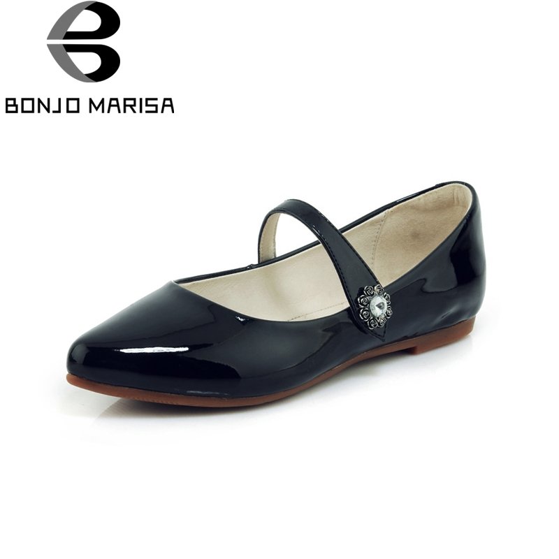BONJOMARISA New Patent Leather Flat Pointed Toe Buckle Strap Solid Shoes Woman Casual Comfortable Spring Flats Big Size 34-40 hxrzyz large size women black flat shoes female patent leather loafers spring autumn new fashion pointed toe buckle casual shoes