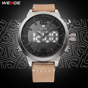 WEIDE Mens Sport Brand Digital Auto Date Alarm Leather Strap Back Light Quartz Multiple Time Zone Wristwatches relogio masculino - DISCOUNT ITEM  55% OFF All Category