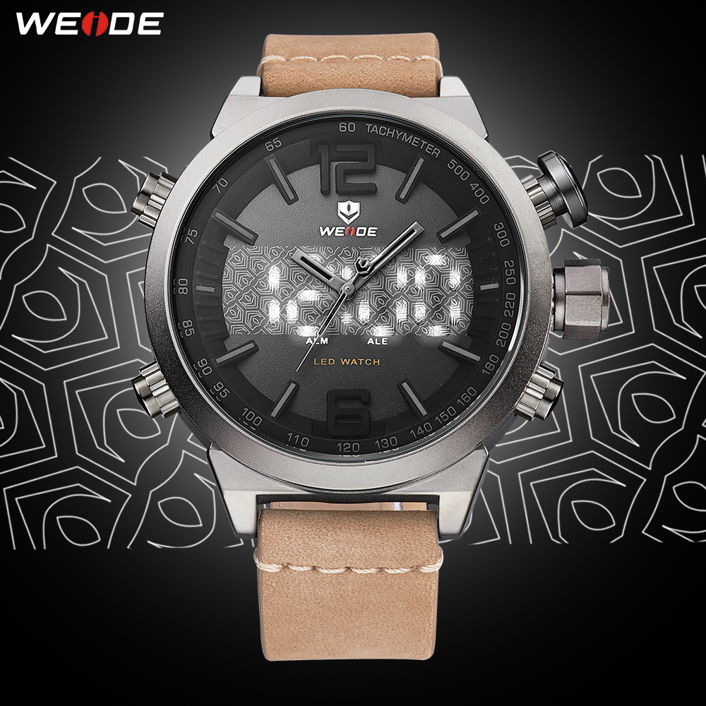 WEIDE Mens Sport luxury Digital Auto Date Alarm Leather Strap Back Light Quartz Multiple Time Zone Wrist Watch relogio masculino in Quartz Watches from Watches