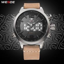 цена на WEIDE Genuine Leather Strap Watch Men Outdoor Sports Watches Khaki Watchband Waterproof Dual Time Zone Alarm Quartz Wristwatch