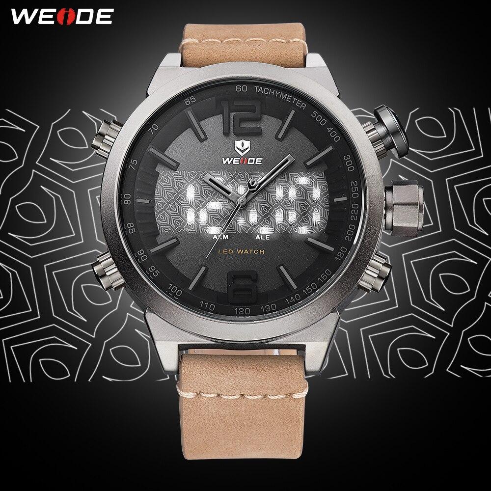 6d5f3518eb2d WEIDE de los hombres del reloj del deporte de marca de lujo de la mejor LED Digital  militar con correa de cuero