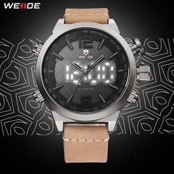 WEIDE de los hombres del reloj del deporte de marca de lujo de la mejor LED Digital militar con correa de cuero, relojes de pulsera reloj de cuarzo masculino hombre reloj