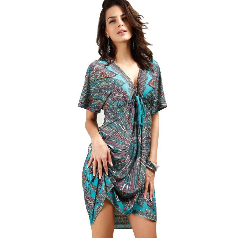 Kleider Naised V seksikas pehme piima siid Boho print midi tribal kleidid 2019 suvel Etniline vabaaja vöökoht Beach Dress