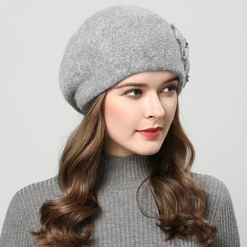 Winter beanie for women with rhinestones rabbit fur beanie best for girls. 1