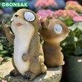 Скульптура в виде животных  садовая скульптура  бамбуковая крыса  солнечный свет  электронные ночные светильники  садовый двор  пейзаж на кр...