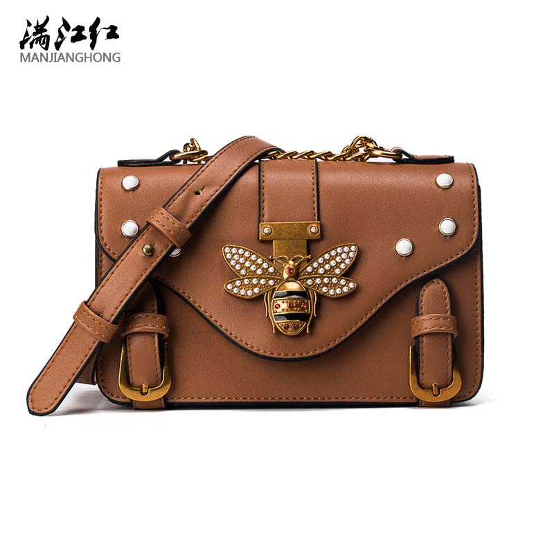 2017 New Brand Designer Women Handbags Shoulder Bag Pearls Bee Buckle Chain Small PU Messenger Bag for Female Young Ladies Party micocah women simple double color buckle buckle shoulder bag chain messenger bag gn40021