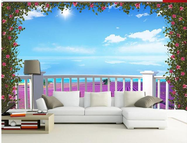 Waterproof Wall Murals Floor 3d Wallpaper Balcony Garden Bathroom