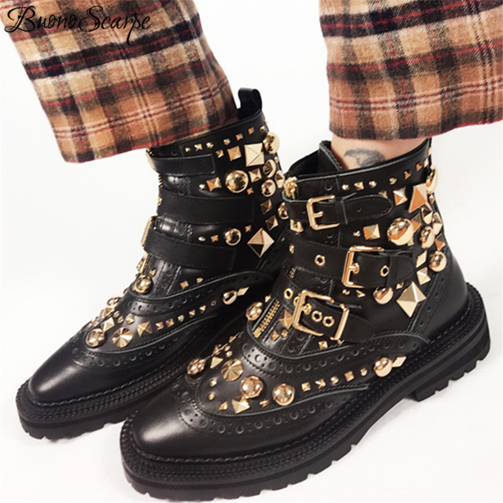 BuonoScarpe British Style Women Punk Boots Black Motorcycle Ankle Boots Buckle Strap Botas Gold Metal Rivets