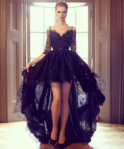 Hi Lo Wedding Gowns: Black Lace Hi Lo Prom Dress With Half Sleeves Backless