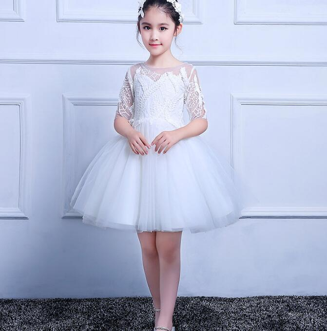 Flower Girl Dress For Wedding Lace Appliques Tulle Pageant Party Gown Half Sleeve Custom Any Size plus size stripe half sleeve sheath dress