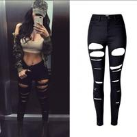 Jeans Femme Women High Waist Black Distressed Jeans Pants Tumblr 2017 Fashion Elastic Ladies Ripped Skinny