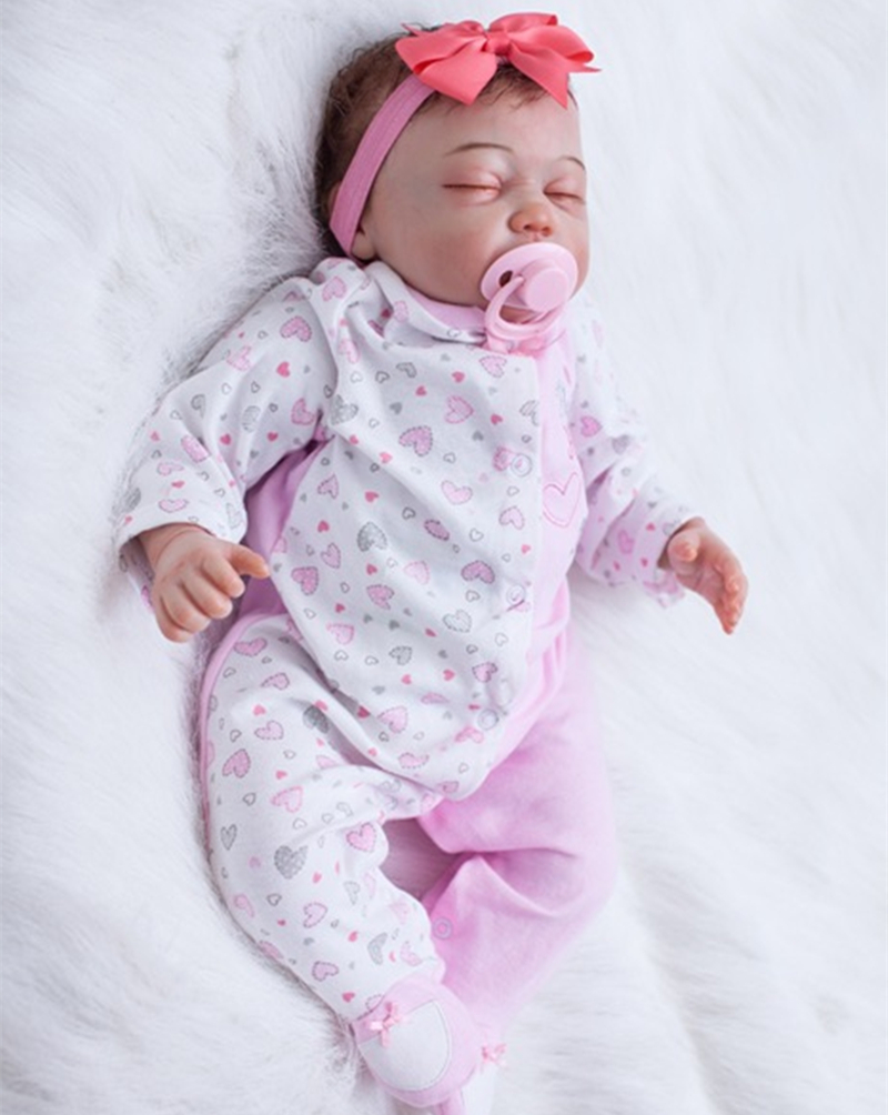 Baby Doll that Looks like a Realistic Baby Wearing Headband 20 inch Soft Silicone Vinyl Sleeping