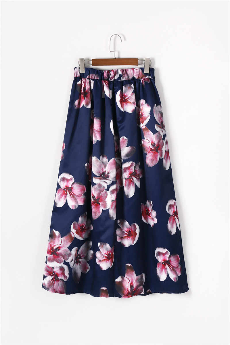 3fdc3449d63d ... 2017 Satin Women 100cm High Waist Flared Maxi Skirts Retro Floral  Printed Pleated Floor Length Long ...