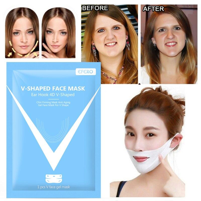 EFERO 4D V Shape Lifting Facial Mask Tension Firming Mask Paper Slimming Eliminate Edema Lifting Thin Masseter Skin Care TSLM1