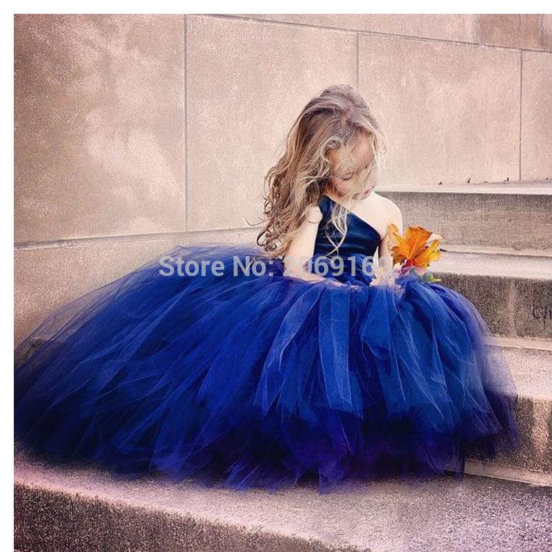 Us 9675 25 Offnavy Blue Flower Girl Dresses 2019 Kids Evening Gown Lovely Girls Pageant Dresses Tulle Vestido De Festa De Casamento In Flower Girl