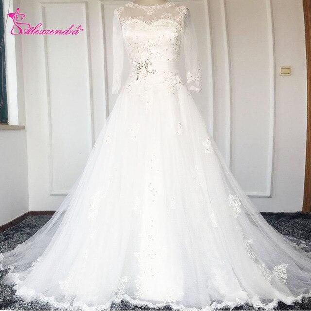 New Custom Made White A Line Wedding Dresses Scoop Applique Beads ...