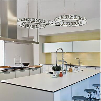 24W Pendant Light Modern Contemporary Chrome Feature For Crystal LED Metal Living Room Dining LAMP