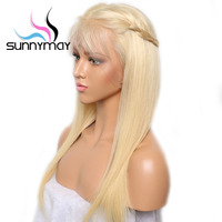 Sunnymay #613 Full Lace Wig With Baby Hair Pre Plucked Blonde Wig 130% Remy Glueless Full Lace Human Hair Wigs Bleached Knots