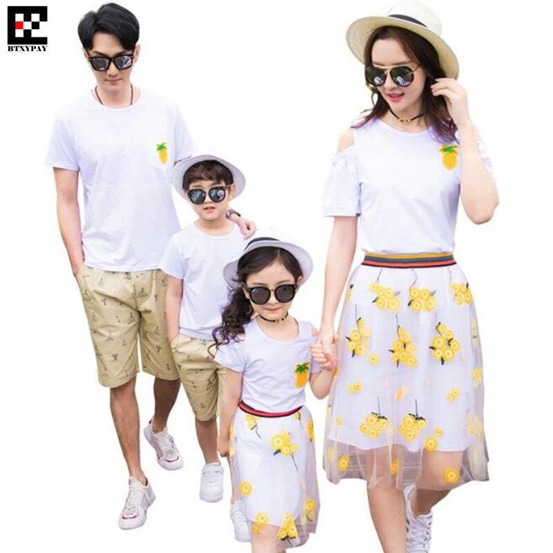 50p Family Matching Outfits Parent-child Set Mother&Daughter T-shirt Kid Girl&Women Mesh Skirts Father&Son Shirts Man&Boy Shorts