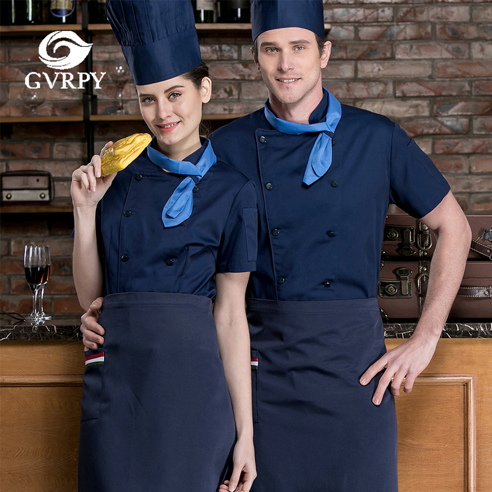 Unisex Chef Uniform Summer Breathable Double Breasted Short Sleeve Chef Jacket Cafe Restaurant Hotel Bar Waiter Work Shirt
