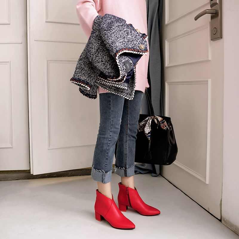 EGONERY mode frau booties sexy spitz 4,5 cm mid heels schuhe 2019 winter plüsch rot blau schwarz zip büro stiefeletten
