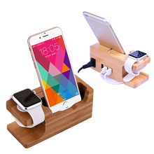 2 in one Bamboo Charging Phone Stand Mobile Phone Holder 3 USB Support Telephone For i Watch+ iPhone6s iPhone7 Samsung Galaxy