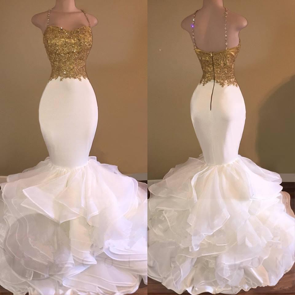 2019 Sexy Gold White Ruffles Lace Mermaid   Prom     Dresses   Spaghetti-Strap Sweetheart Sleeveless Tiers Skirt Evening gown   prom     Dress