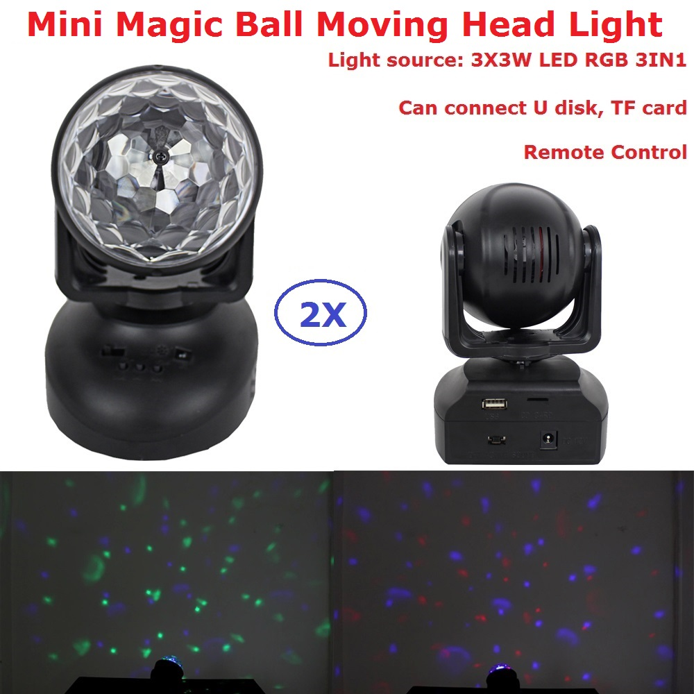 2Pcs Mini 12W Crystal Magic Ball Moving Head Stage Lights 3X3W RGB Full Color Stage Effect Lights With Remote Control New Design