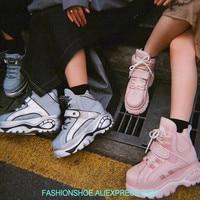 Новинка 2018 г. на толстой платформе Для женщин кроссовки Тангенциальный высокие кроссовки для подиума женские ботинки криперы женский Повсе