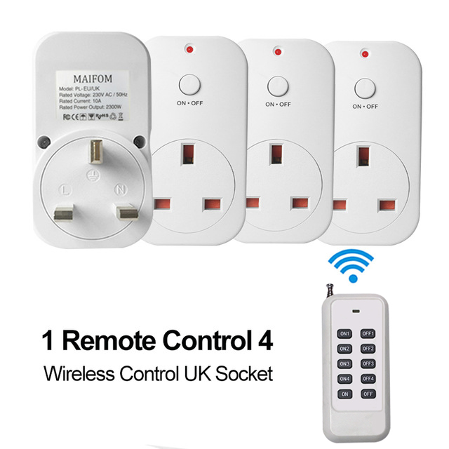 Uk Plug Wireless Socket Remote Control Smart Outlet Rf433 Light Switch Home 110 230v Ac