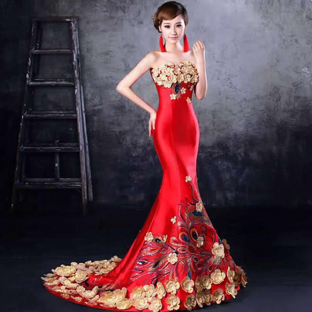 Hot Sale 2016 Fashion Red Embroidery Mermaid Evening Gowns Strapless Long Qipao Cheongsam Chinese Traditional Wedding Dress