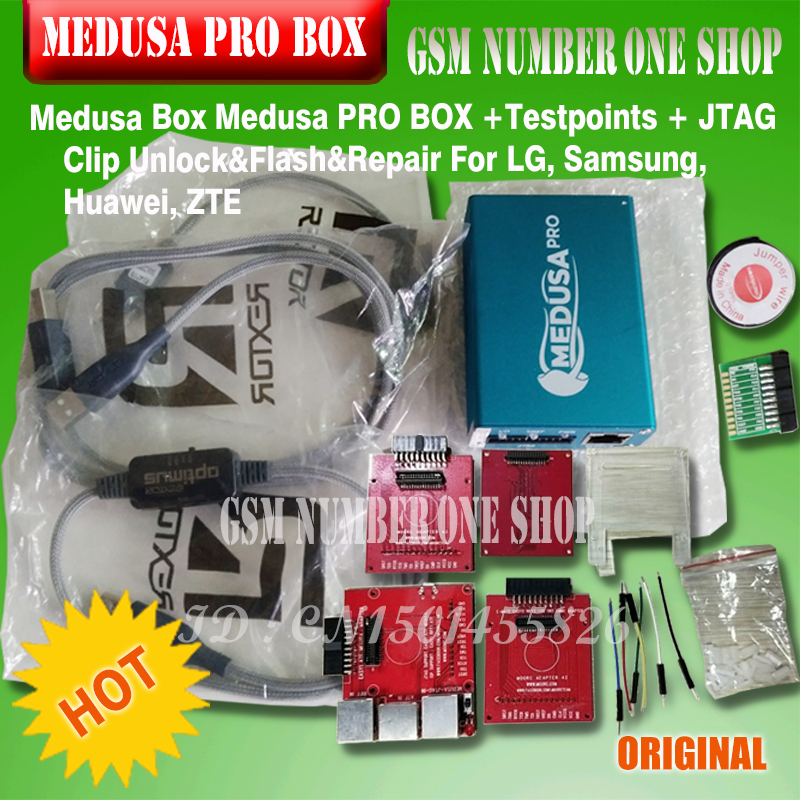 100% ORIGINAL NEW Medusa PRO Box Medusa Box + ISP ALL In Adapter+ JTAG Clip MMC For LG For Samsung For Huawei With Optimus Cable