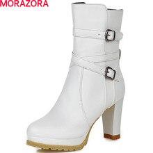 MORAZORA 2020 di modo di grande formato 32 43 fibbia solido punta rotonda di spessore stivali tacco med piazza tacco elegante caviglia stivali per le donne