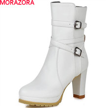 MORAZORA 2020 fashion big size 32 43 buckle round toe solid boots thick med heel square heel elegant ankle boots for women