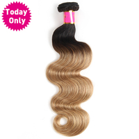 [VANDAAG ALLEEN] Blonde Braziliaanse Body Wave Bundels Ombre Menselijk Haar Weave Bundels Two Tone 1b 27 Hair Extensions Niet Remy Haar
