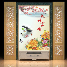 Customized Chinese large 3D mural stereo porch screen vertical corridor flower open rich peacock peony living room wall