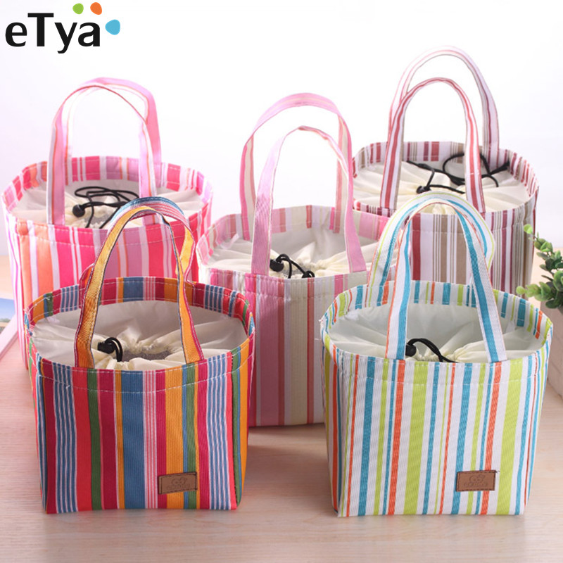 ETya Fashion Insulated Lunch Bag Thermal Women Men Kids Stripe Tote Bags Travel Food Picnic Insulation Bag Cooler Pouch