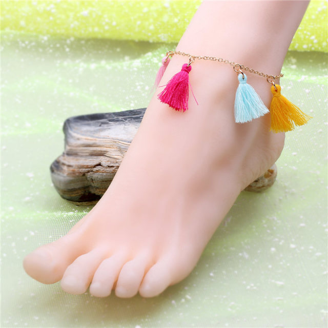 I SHOW Beach Fashion Multi Tassel Anklet Rose Gold Toe Bracelet