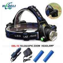 LED Headlight USB Charging Zoom Cree xml-t6 l2 Waterproof Lantern Headlamp Fishing Lantern on the head 18650 Bicycle hunting(China)