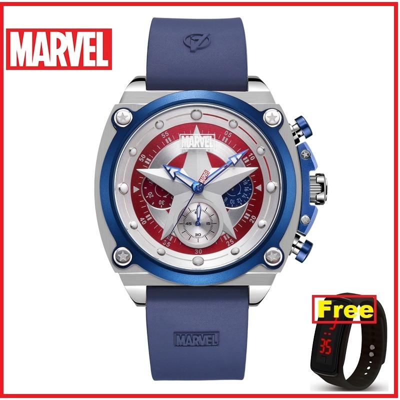 MARVEL Disney Mens Watches Luxury Captain America Quartz Man Watch Fashion Sport Sapphire Crystal Leather Male Watches