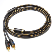HiFi MPS X 9 Leopard 99.99997% OCC Silver Plated+4K Gold Plated Plug 3.5mm to 2 RCA audio 2 RAC male to 3.5 male Speaker cable