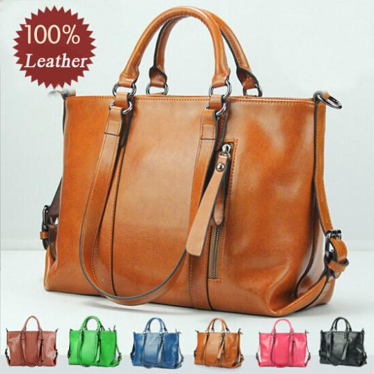 2015 Best Fashion Design Genuine Leather Women Bag Oil Wax Shoulder Handbag Women Messenger Bags Elegant Casual Tote WBG1035 2015 fashion women floral genuine leather handbag elegant shoulder bag new style messenger bags women top handle bags hot tote